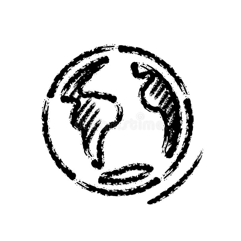 Symbol för vektor för borsteslaglängdhand utdragen av planetjord stock illustrationer