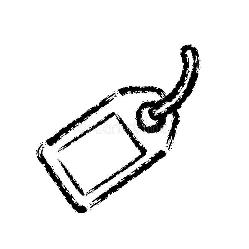 Symbol för vektor för borsteslaglängdhand utdragen av prislappetiketten vektor illustrationer