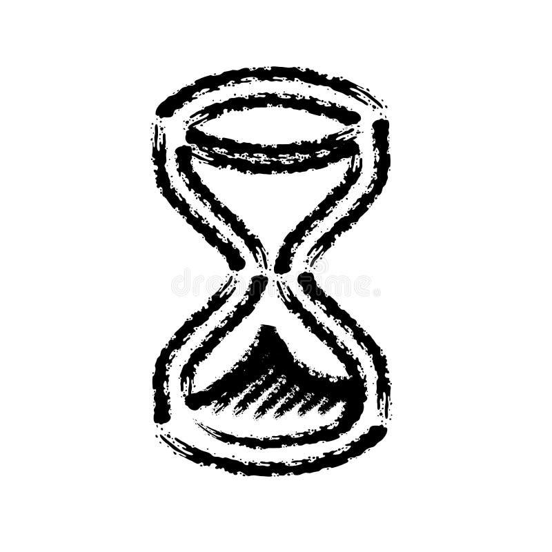 Symbol för vektor för borsteslaglängdhand utdragen av timglaset royaltyfri illustrationer