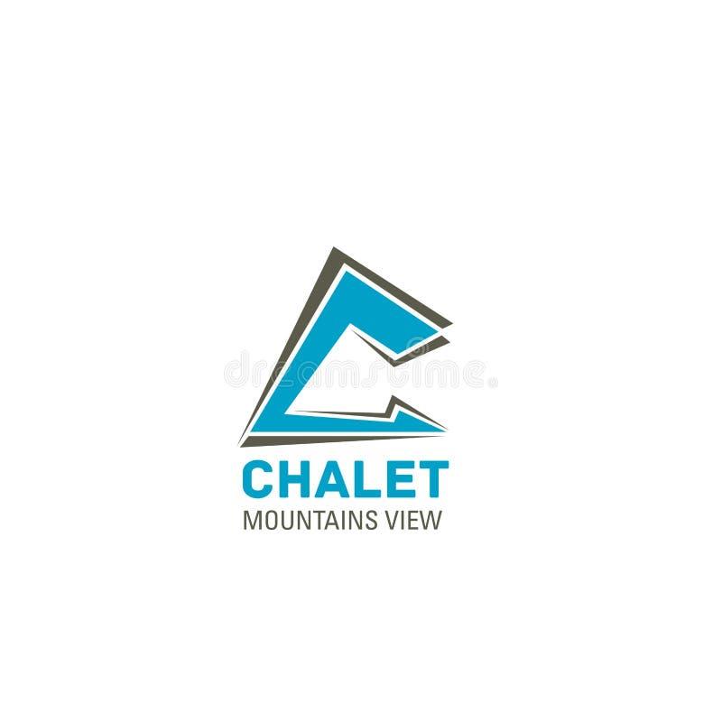 Symbol för vektor för chalethotellbokstav C vektor illustrationer