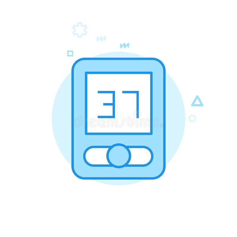 Symbol för vektor för cykel- eller cykeldator plan, symbol, Pictogram, tecken Blå monokrom design Redigerbar slaglängd royaltyfri illustrationer