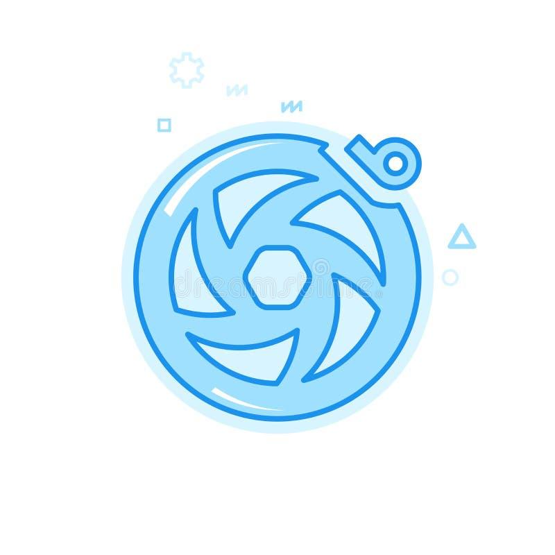 Symbol för vektor för cykel- eller cykeldiskettbroms plan, symbol, Pictogram, tecken Blå monokrom design Redigerbar slaglängd royaltyfri illustrationer
