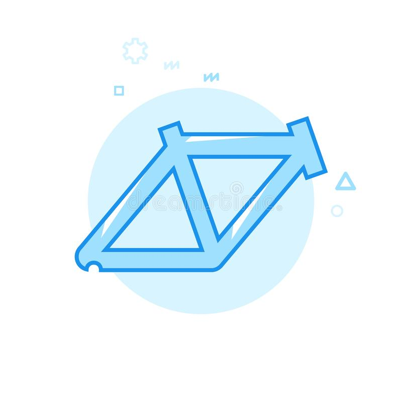 Symbol för vektor för cykel- eller cykelram plan, symbol, Pictogram, tecken Blå monokrom design Redigerbar slaglängd stock illustrationer