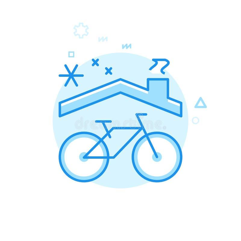 Symbol för vektor för cykel- eller cykelvinterlagring plan, symbol, Pictogram, tecken Blå monokrom design Redigerbar slaglängd royaltyfri illustrationer