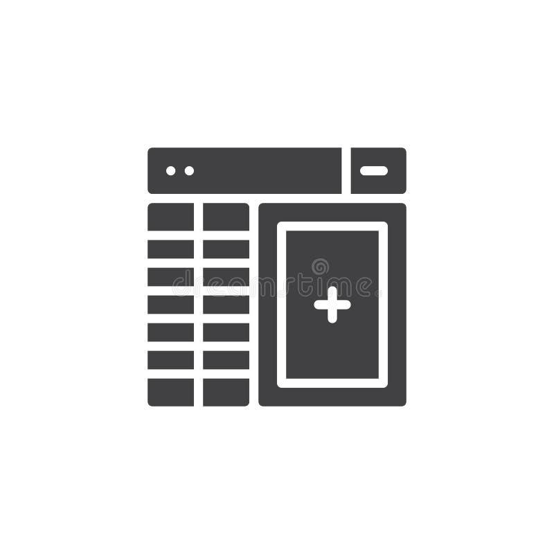 Symbol för vektor för databasledning vektor illustrationer
