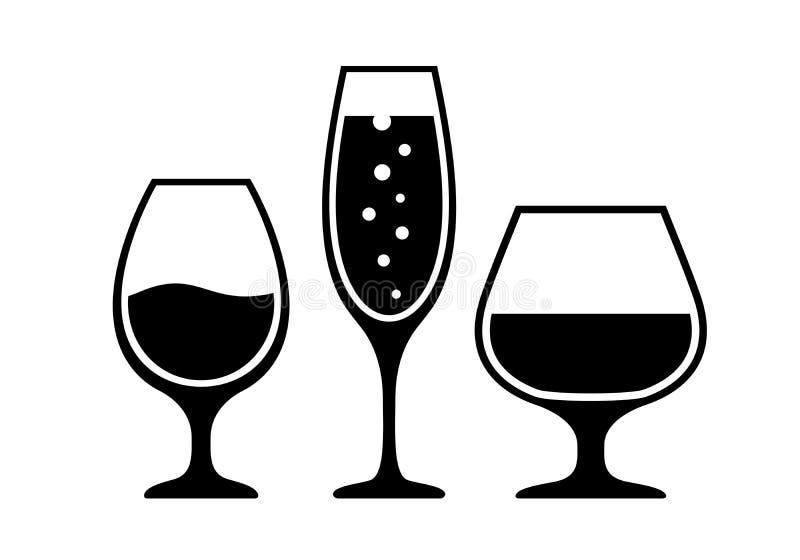 Symbol för vektor för alkoholcoctailexponeringsglas stock illustrationer