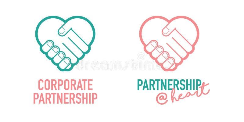 Symbol för vektor för avtal för handel för handskakning för företags partnerskapaffär lyckad vektor illustrationer