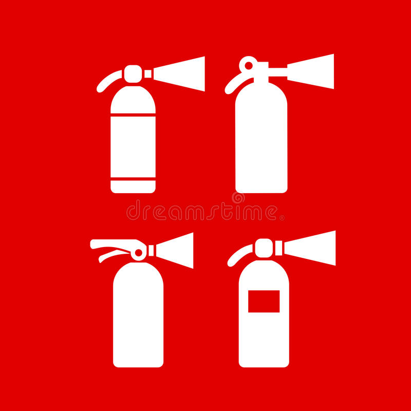 Symbol för vektor för eldsläckare för brandsäkerhet stock illustrationer