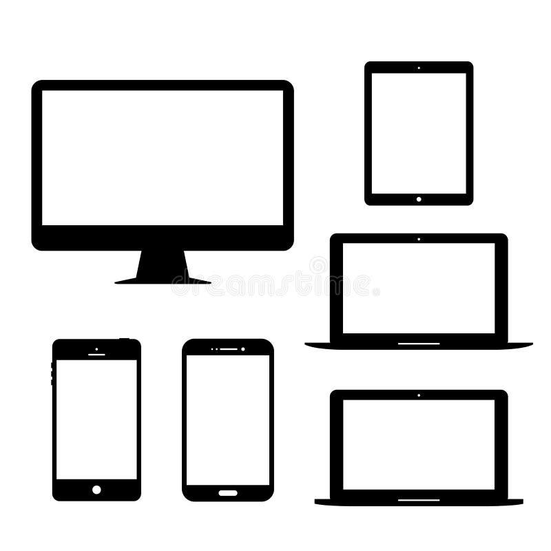 Symbol för vektor för grejer för mobiltelefon för minnestavla för datorbildskärmbärbar dator elektronisk vektor illustrationer