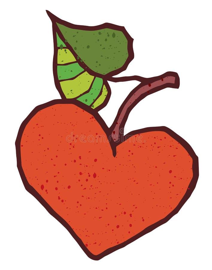 Symbol för vektor för hjärtaformäpple royaltyfri illustrationer