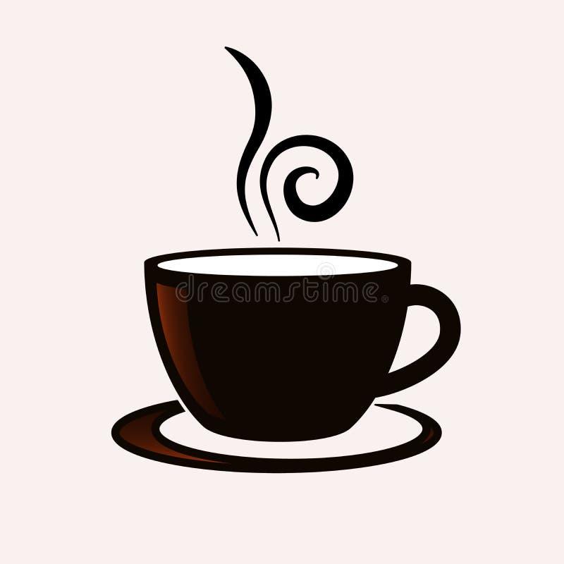 Symbol för vektor för kaffekopp stock illustrationer