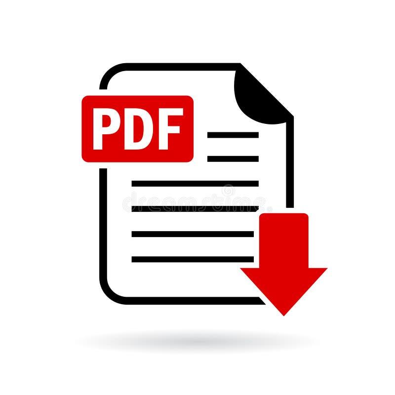 Symbol för vektor för Pdf-dokumentnedladdning stock illustrationer