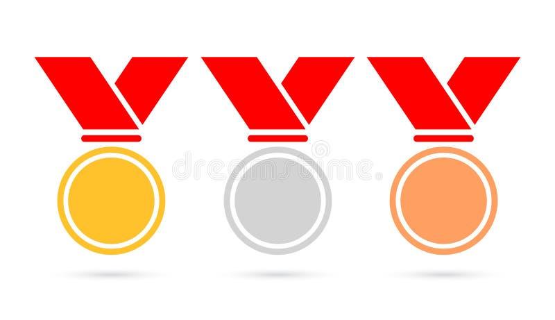 Symbol för vektor för sportmedaljer fastställd vektor illustrationer