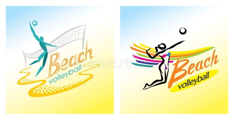 Symbol för vektor för strandvolleyboll royaltyfri illustrationer