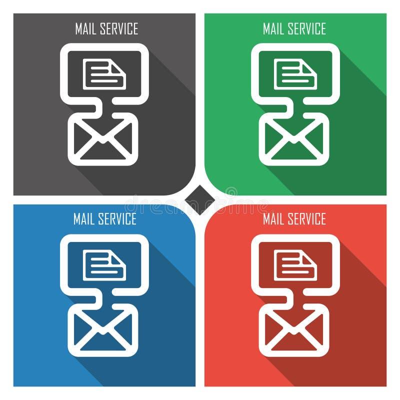 Symbol för vektor för tjänste- lägenhet för post på färgrik bakgrund enkla PCrengöringsduksymboler eps8 stock illustrationer
