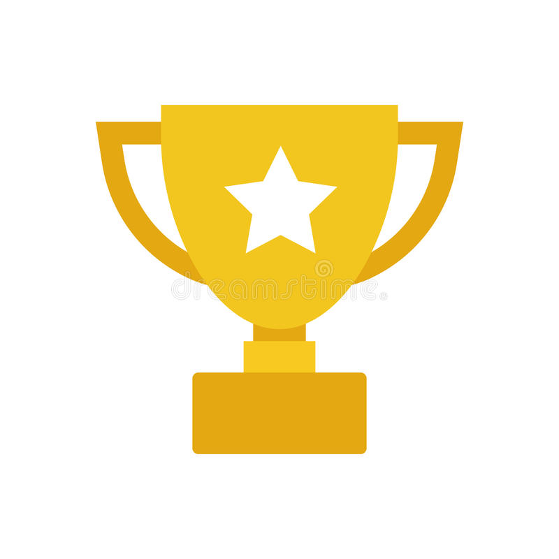Symbol för vektor för trofékopplägenhet Enkelt vinnaresymbol Guld- illustra vektor illustrationer