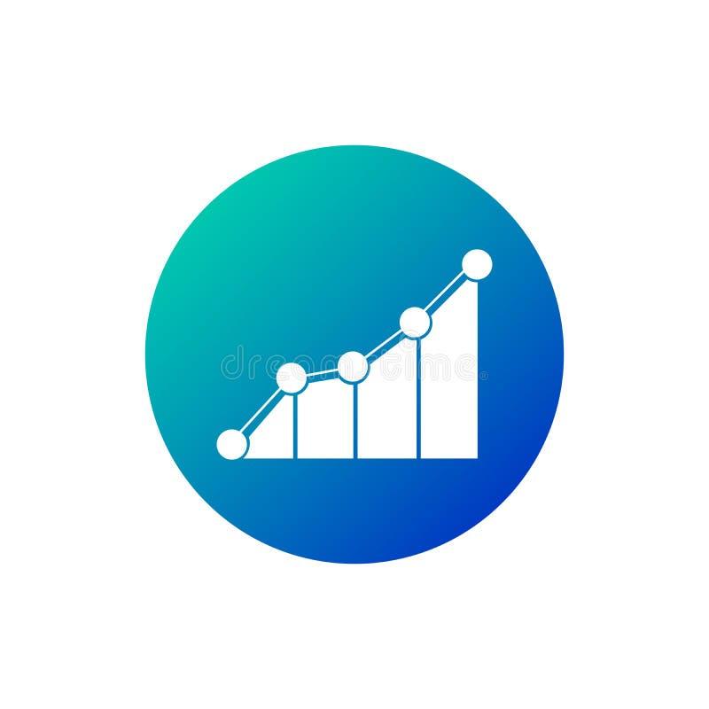 Symbol för vektor för försäljningsstångdiagram cirklade blåa och gröna färger för symbol, finansiellt framgångbegrepp för affär t stock illustrationer
