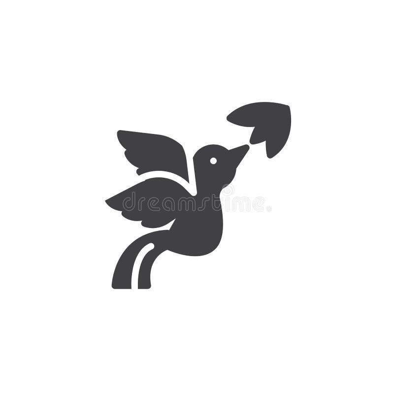 Symbol för vektor för flygfågel och blomma royaltyfri illustrationer