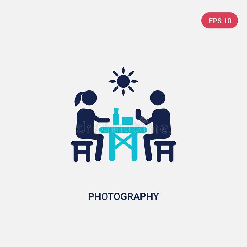 symbol för vektor för fotografi för färg två från begrepp för utomhus- aktiviteter det isolerade blåa symbolet för fotografivekto vektor illustrationer