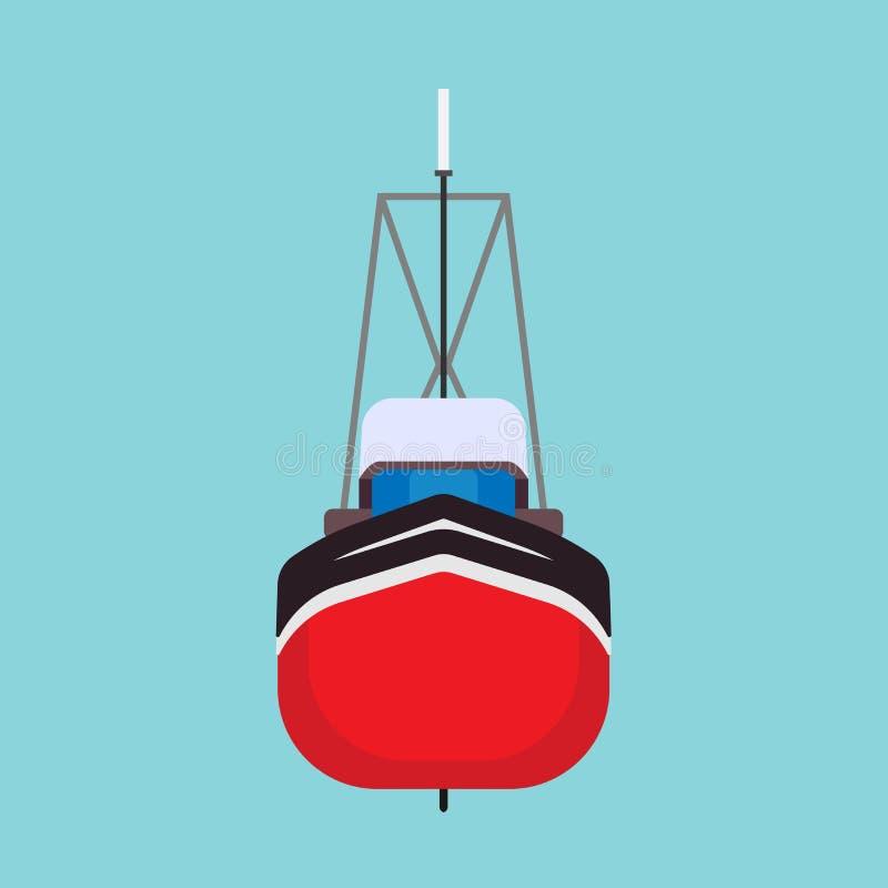 Symbol för vektor för främre sikt för fiskebåt Transport för skyttel för havsskeppvatten isolerad marin- Segla den frånlands- tan stock illustrationer