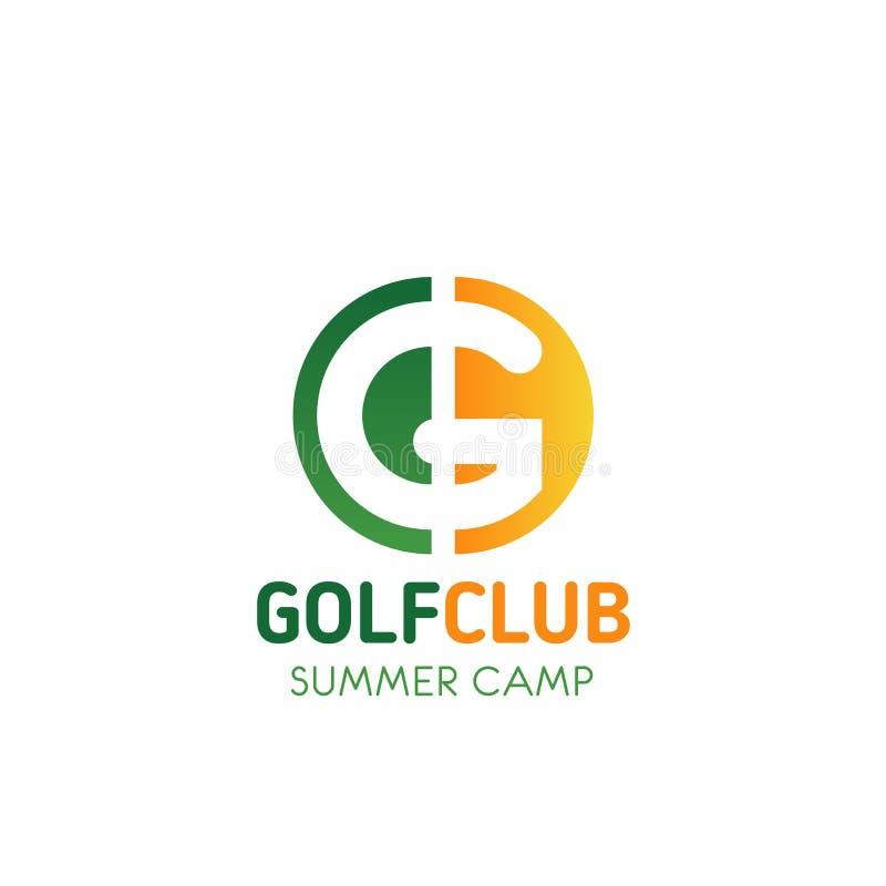 Symbol för vektor för G för golfklubbkolonibokstav vektor illustrationer