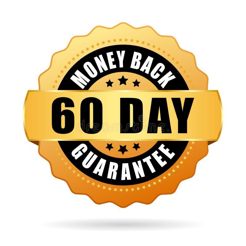 60 - symbol för vektor för garanti för dagpengarbaksida vektor illustrationer