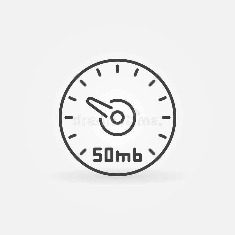 Symbol för vektor för hastighetsprov linjär Symbol för 50 Mb internethastighet vektor illustrationer