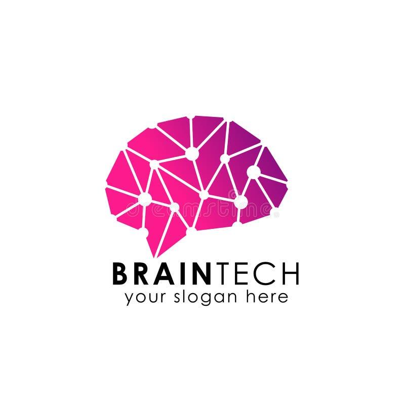 Symbol för vektor för hjärnanslutningslogo Digital hjärna hjärnnavlogo stock illustrationer