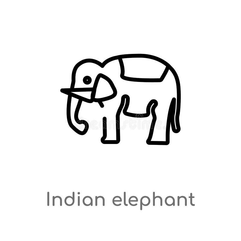 symbol för vektor för indisk elefant för översikt isolerad svart enkel linje beståndsdelillustration från det Indien begreppet Re royaltyfri illustrationer