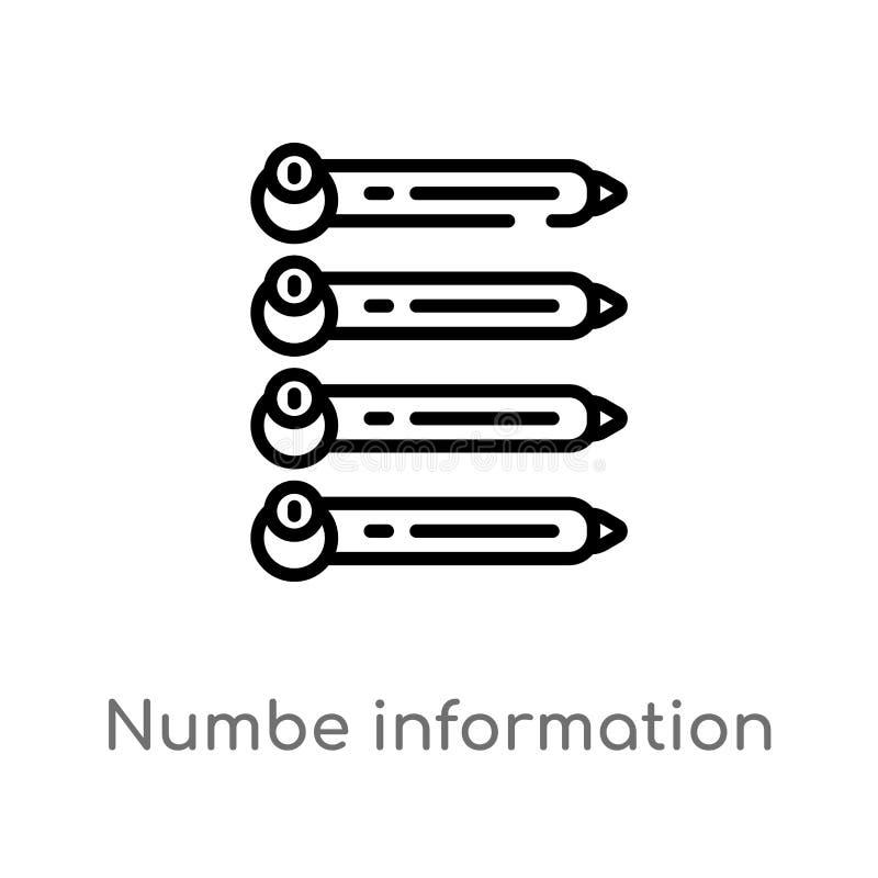 symbol för vektor för information om översiktsnumbe isolerad svart enkel linje beståndsdelillustration från affärsidé Redigerbar  royaltyfri illustrationer