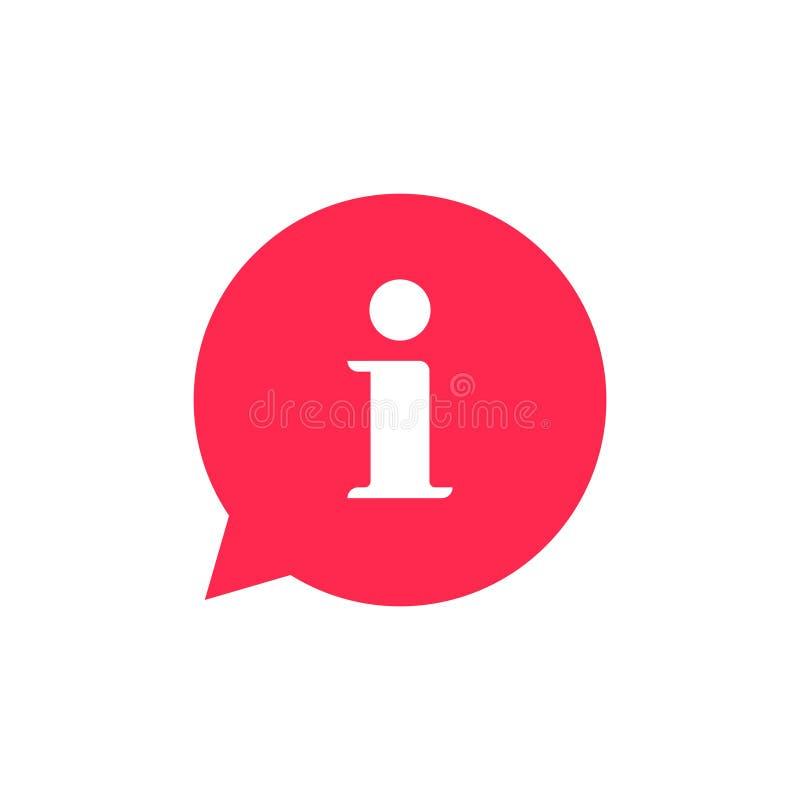 Symbol för vektor för informationsbubblaanförande, plant informationshjälptecken att markera isolerad clipart royaltyfri illustrationer
