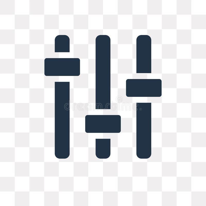 Symbol för vektor för inställningar för musikspelare som isoleras på genomskinlig backgr stock illustrationer