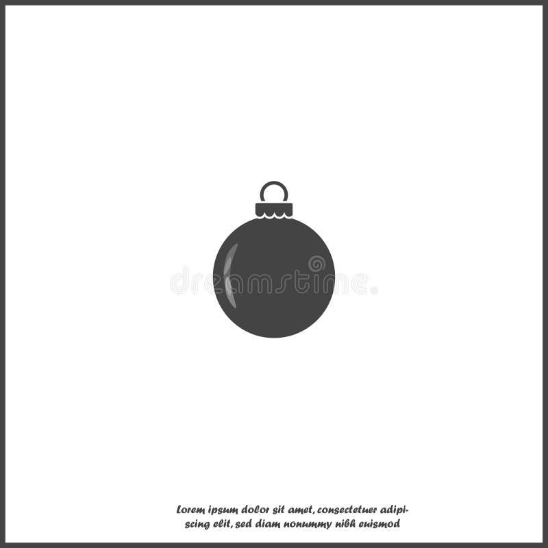 Symbol för vektor för julbollgarnering på vit isolerad bakgrund Lager som grupperas f?r l?tt redigerande illustration vektor illustrationer