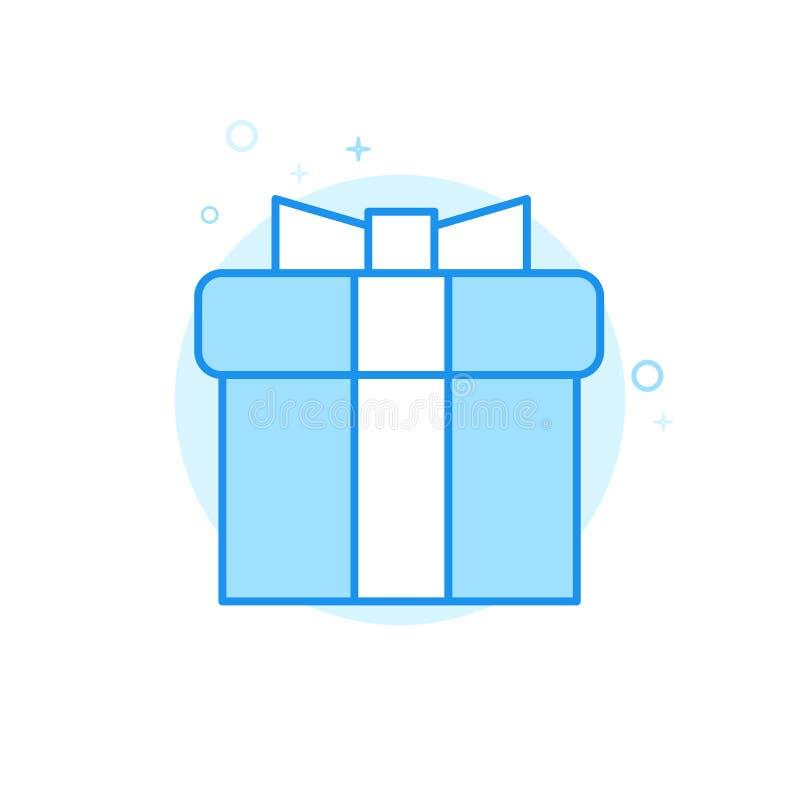 Symbol för vektor för julgåva plan, symbol, Pictogram, tecken Ljust - blå monokrom design Redigerbar slaglängd vektor illustrationer