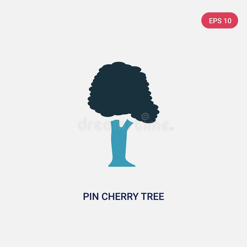Symbol för vektor för körsbärsrött träd för stift för två färg från naturbegrepp det isolerade blåa symbolet för tecknet för vekt royaltyfri illustrationer