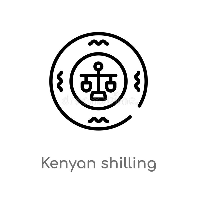 symbol f?r vektor f?r kenyan shilling f?r ?versikt isolerad svart enkel linje best?ndsdelillustration fr?n det africa begreppet R royaltyfri illustrationer