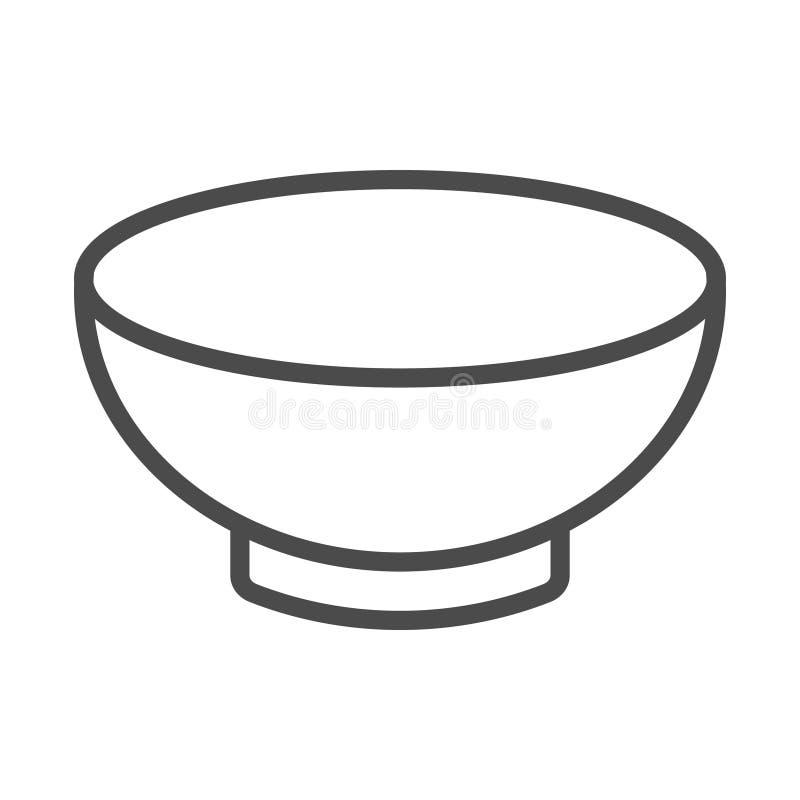 Symbol för vektor för konst för översikt för dishware för soppabunke för matapps och websites royaltyfri illustrationer