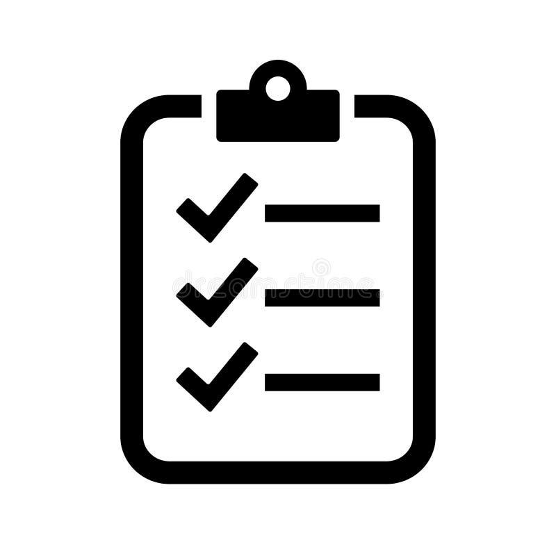 Symbol för vektor för kontrolllista vektor illustrationer