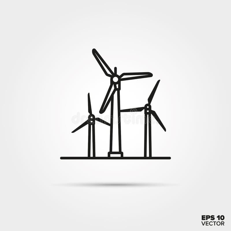 Symbol för vektor för kraftverk för vindenergi vektor illustrationer