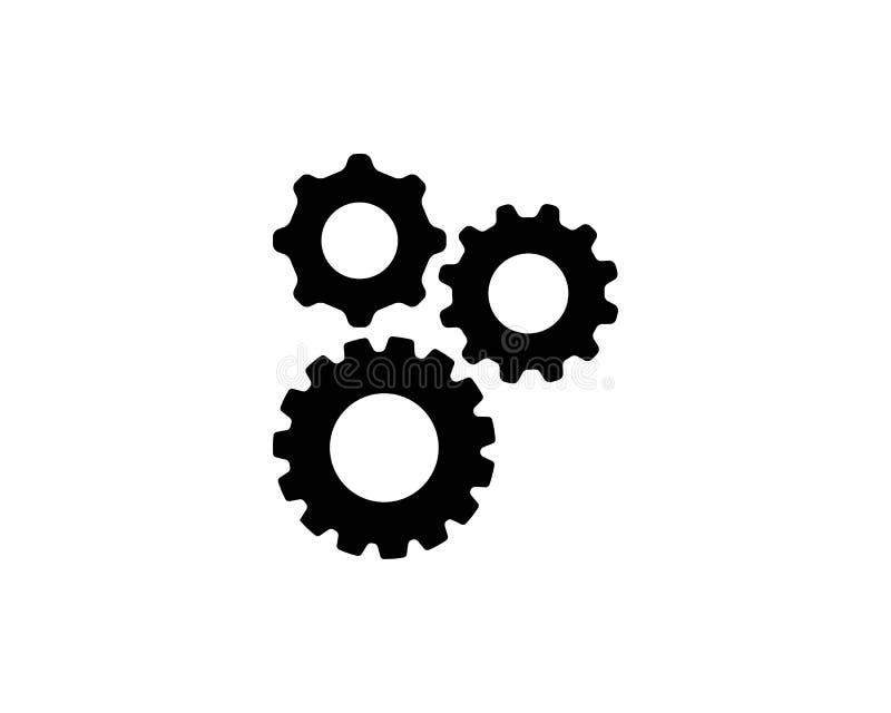 symbol för vektor för kugghjulsymbolslogo royaltyfri illustrationer