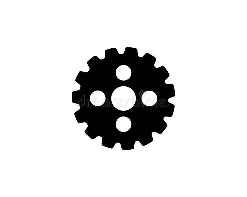 symbol för vektor för kugghjulsymbolslogo stock illustrationer