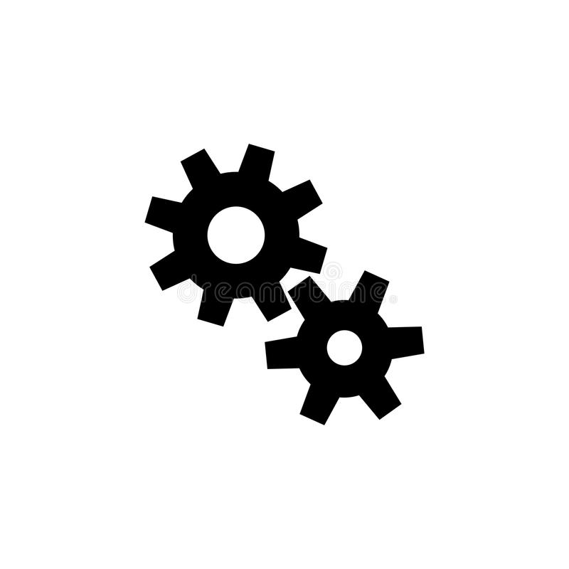 Symbol för vektor för lägenhet för kugghjulkugghjulmekanism vektor illustrationer