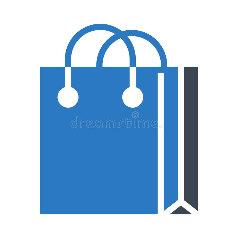 Symbol för vektor för lägenhet för skåra för shoppingpåse royaltyfri illustrationer