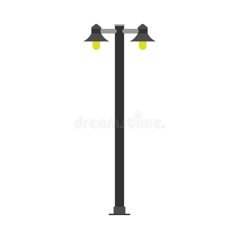 Symbol för vektor för ljus för makt för arkitektur för lampstolpegata Lykta för stad för utrustning för Pole energibelysning Stad royaltyfri illustrationer