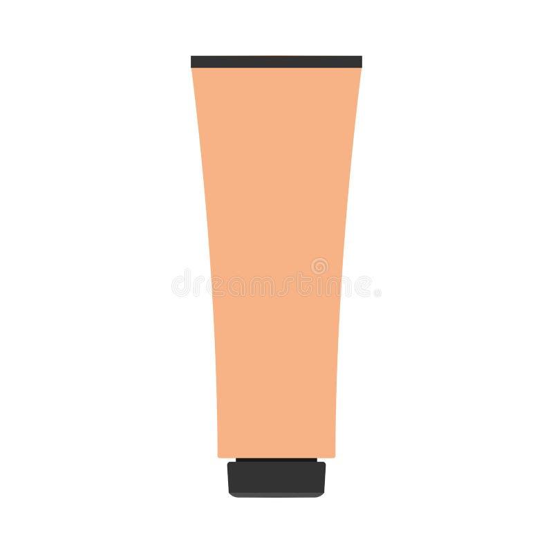 Symbol för vektor för lotion för kräm- flaskillustration vård- kosmetisk Handen för omsorg för naturproduktrörhud stelnar closeup stock illustrationer