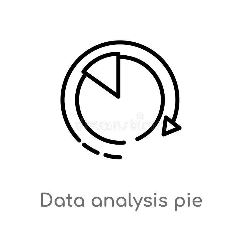 symbol för vektor för manöverenhet för diagram för paj för översiktsdataanalys isolerad svart enkel linje beståndsdelillustration royaltyfri illustrationer