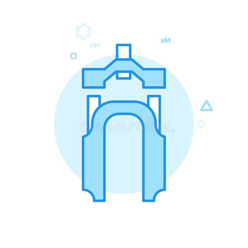 Symbol för vektor för mountainbikegaffel plan, symbol, Pictogram, tecken Blå monokrom design Redigerbar slaglängd stock illustrationer