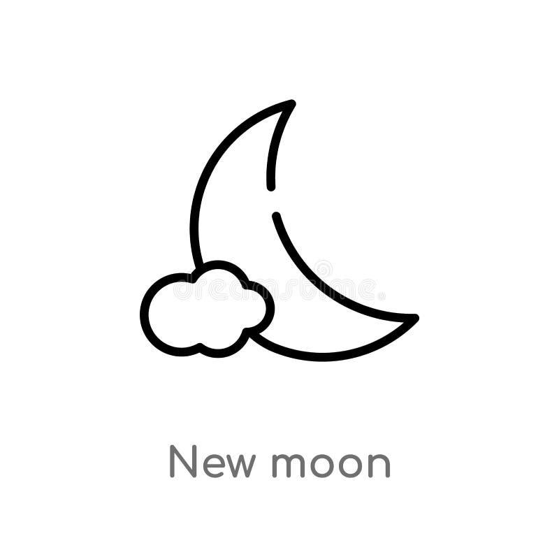 symbol för vektor för ny måne för översikt isolerad svart enkel linje beståndsdelillustration från väderbegrepp redigerbar ny vek vektor illustrationer