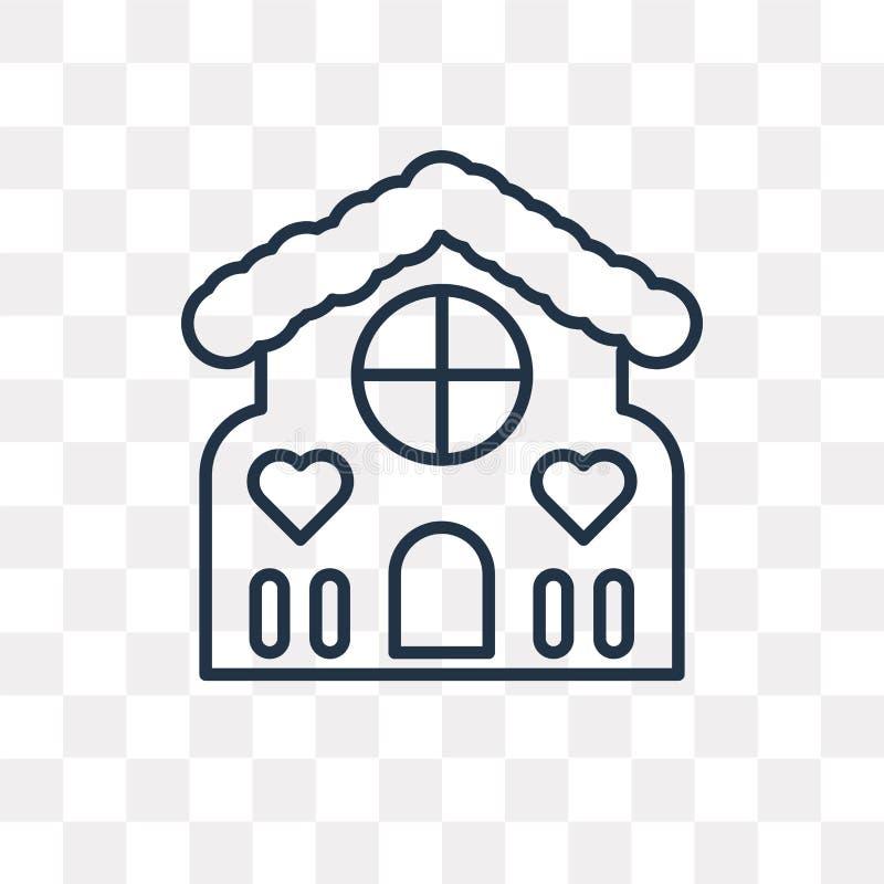 Symbol för vektor för pepparkakahus som isoleras på genomskinlig bakgrund stock illustrationer