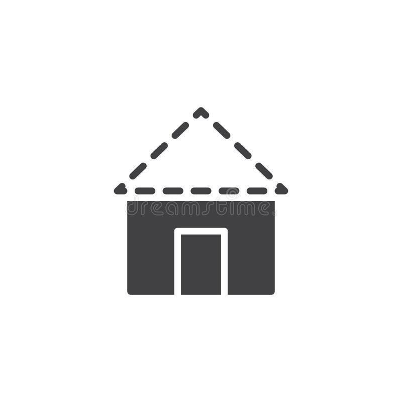 Symbol för vektor för plan för hustakkonstruktion stock illustrationer